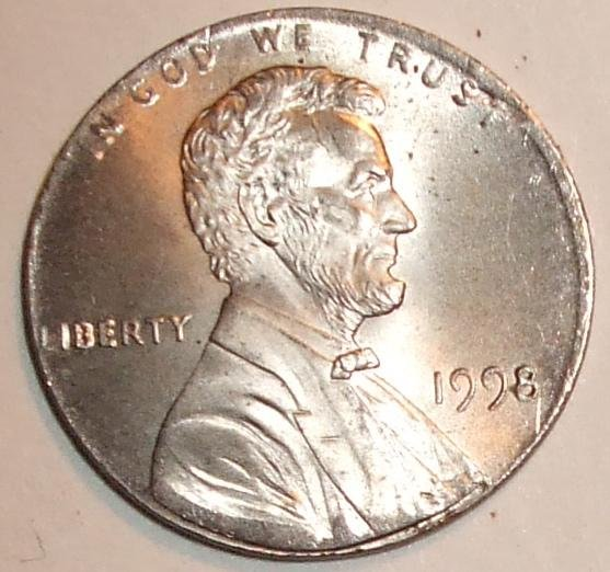 1998 Ms Off Metal Lincoln Cent On A Roosevelt Dime