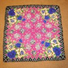 1940's Fuschia with Blue Roses Vintage Scarf WWII era