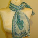 LONG Vintage Silk Crepe Scarf - Aqua Paisley