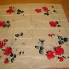 Beautiful LARGE Vintage Scarf - White, red roses WWII era