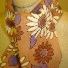 Tan - 1960's - Flower Power - tie scarf