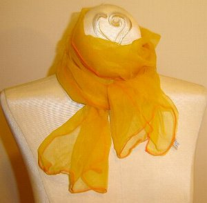 Great 1950's LONG Nylon Chiffon Scarf - Yellow