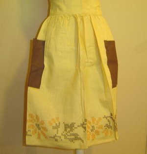 Stunning 1950's Vintage Apron - Yellow with Cross Stitch