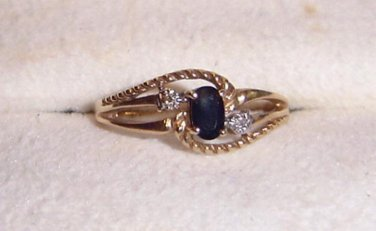 Lovely  Sapphire and Diamond Ring  10 k Yellow Gold  - Size  6 1/2
