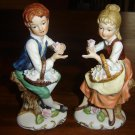 "Vintage Large HOMCO Figurines - Boy Girl-""flower children""-Outstanding PAIR"