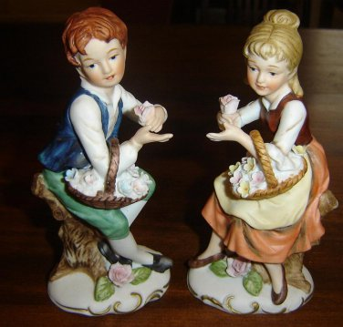 "Vintage Large HOMCO Figurines - Boy Girl-""flower children""-Outstanding PAIR"