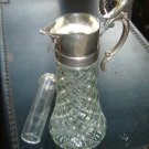 Press glass Claret Pitcher Silver Plate Top - ELEGANT Tankard-Large 13""