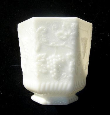 Anchor Hocking - Fire King Lrg  Vase/ PLANTER - Milk Glass Panel Grape.