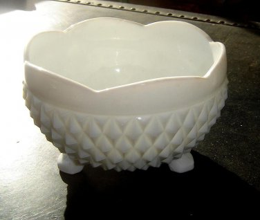 Footed  Diamond Point, milk glass bowl - 1960's Indiana