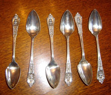 6 Rosepoint sterling silver FRUIT grapefruit SPOONS by Wallace