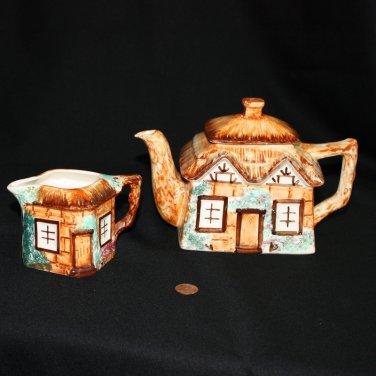 KEELE ST  POTTERY (K L S ) Vintage Tea Pot & Cream Jug