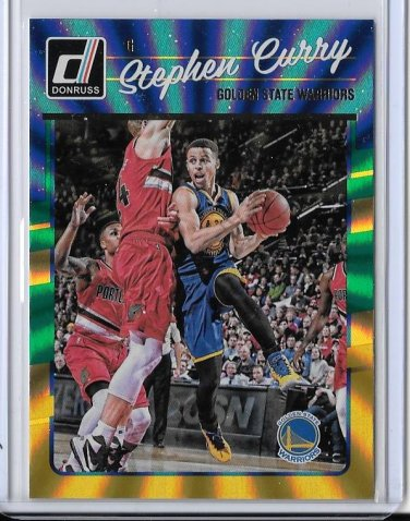 2016-17 Donruss Green & Yellow Laser Holo Foil Stephen Curry