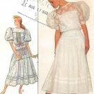 Jessica McClintock Vintage Sewing Pattern Lace Dress Yoke Tucks Puff Sleeve Gunne Sax 8610 Size 12