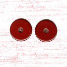 Dark Red Bakelite Buttons Vintage Large Round Cranberry Set 2 Sewing Jacket Coat Crafts Jewelry