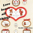 Love Bears Cross Stitch Design Patterns Wall Hanging Heart Hugs Vintage Burdett Needlecraft Projects
