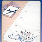 Bucilla Dresser Scarf Runner Stamped Cross Stitch Kit Bridal Bouquet Retired Flower Ribbon Wedding