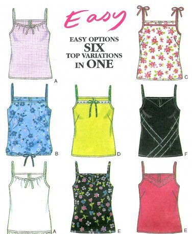 Easy Tank Top Sewing Pattern Spaghetti Strap Camisole 6873 6-16