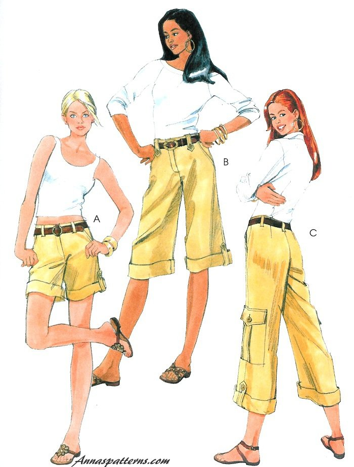 Easy Cargo Shorts Pants Capri Sewing Pattern Summer Spring