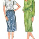 Easy Skirt Blouse Sewing Pattern Vintage Straight Tailor Dress Collar Shirt Elastic Waist 3653 12-16