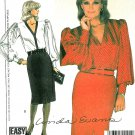 Pencil Skirt Blouse Sewing Pattern Vintage Big Sleeve Button Front Top Vintage Wide Cuff 9033 12