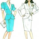 Vintage Sewing Pattern Retro Suit Peplum Jacket Skirt Shawl Collar Sexy Fitted 80's 10-14 9017