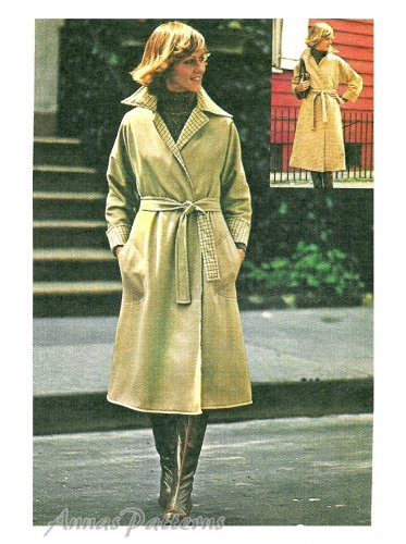 Misses Trench Coat Sewing Pattern Reversible Wrap Rain Jacket A Line