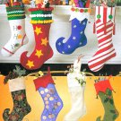 Christmas Stockings Sewing Pattern Retro Funky Elf Sock Traditional Holiday Decor 2991