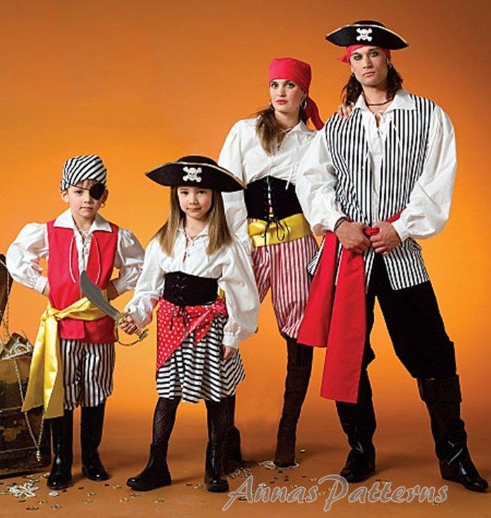 Boy Girl Pirate Costume Sewing Pattern Halloween Dress Up Shirt Pant Skirt Vest Child 3-8 4952  sc 1 st  eCRATER & Boy Girl Pirate Costume Sewing Pattern Halloween Dress Up Shirt Pant ...