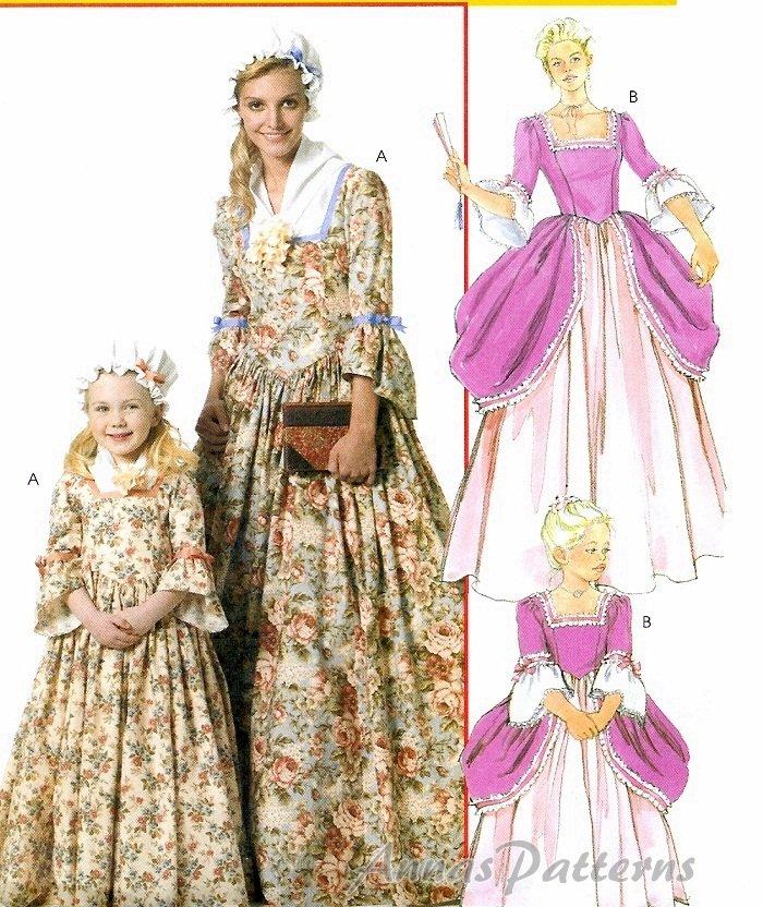 Girls Ball Gown Costume Pattern Colonial Princess Elizabethan Cinderella Halloween 6139 3 8