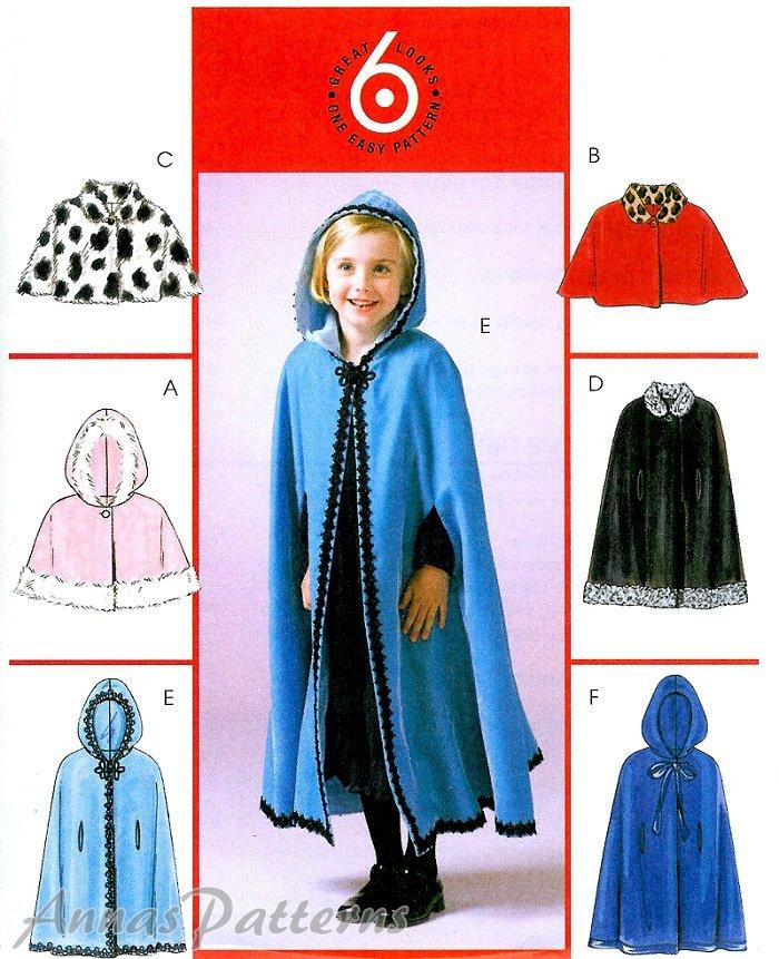 Girls Toddler Capelet Sewing Pattern Hood Lined Muumuu Long Short