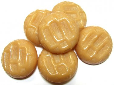 Caramel Tan Button Lot Vintage Large Plastic Cookie Design Coat Jacket Suit Sewing Crafts 1 3/8