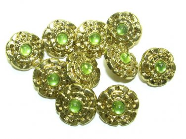 Vintage Metal Buttons Flower Green Rhinestone Shaped Unique Set of 11 Sewing Crafts 3/4 Inch