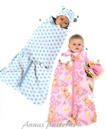 Bunting Sewing Pattern Lovies Baby Infant Zip Front Cuddler Wrap Front Hat Security Toy 6426