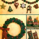 Christmas Decor Sewing Pattern Yo Yo Stocking Wreath Garland Holiday Tree Ornaments 6002
