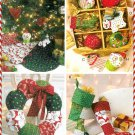 Christmas Stocking Tree Skirt Sew Pattern Patchwork Wreath Ornament Dog Cat Holiday Handcrafted 6453