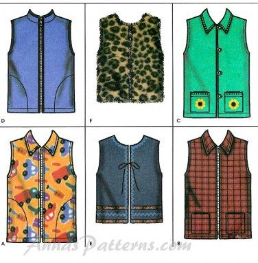 Girls Vest Sewing Pattern Easy Zip Button Front Fleece
