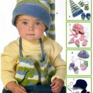 Infant Toddler Winter Hats Sewing Pattern Easy Elf Snow Derby Beanie Mittens Booties Fleece 5539