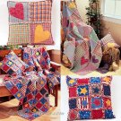 Rag Quilt Sewing Pattern Pillow Throw Blanket Heart Star Country Prim Cabin Lodge Patchwork 3901