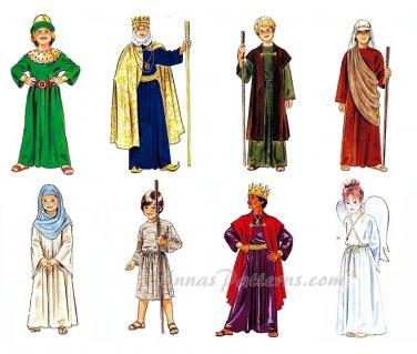 Children's Costume Pattern Christmas Easter Angel King Shepherd Mary Joseph 6-8 2340 Religious