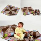 Patchwork Blanket Ball Pillow Sewing Pattern Mat Baby Child Nursery Decor Quilt 6622
