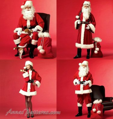 Santa Claus Mrs Costume Sew Pattern Helper Old World Traditional Coat Pant Jacket XL XXL XXXL 5550