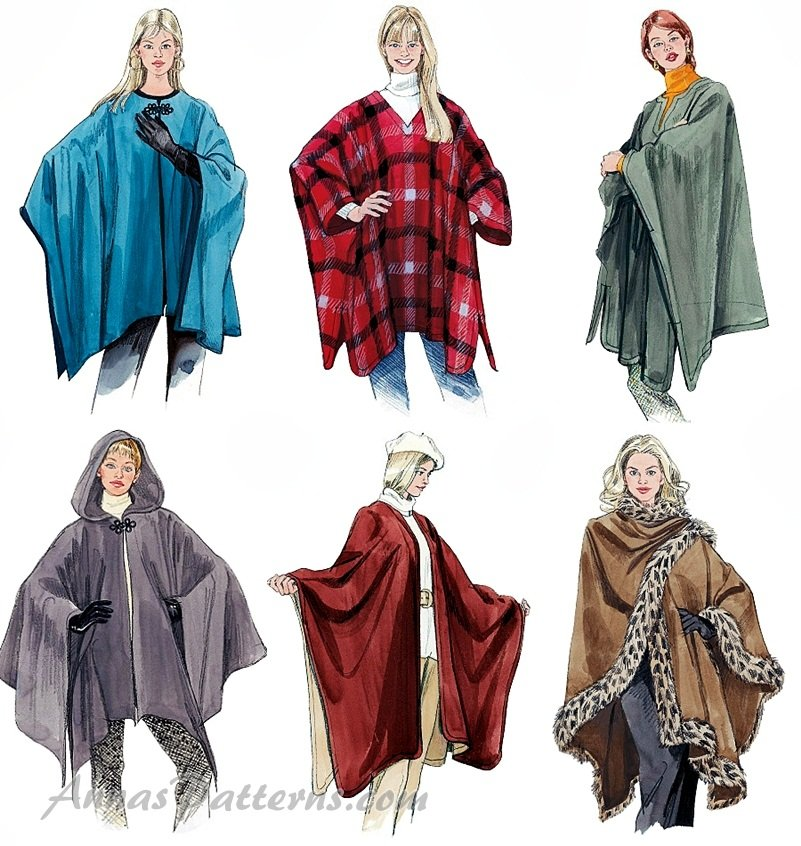 Capes Poncho Sewing Pattern Easy Pullover Jacket Coat Wrap Capelet ...
