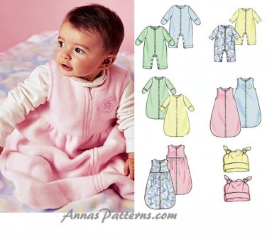 Bunting Sack Sewing Pattern Infant Baby Fleece Knit Jumpsuit Hat