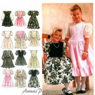 Girl Party Dress Sew Pattern Special Occasion Shape Bodice Puff Sleeve Full Skirt Holiday 3-6 8754