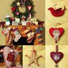Christmas Stockings Sewing Pattern Garland Heart Angel Star Snowman Dove Santa Ornaments 4990