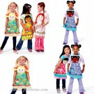 Children's Girls Aprons Sewing Pattern Fun Face Hair Pigtail Braid Ethnic Applique 3-8 6662
