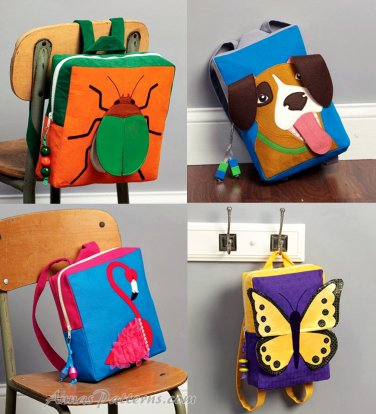 Child Book Bag Backpack Sewing Pattern Beetle Dog Butterfly Flamingo
