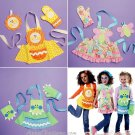Girls Child Size Apron Sewing Pattern Mitt Butterfly Lion Frog Crafts Cooking Applique 6618 Fun