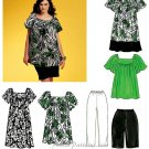 Loose Pullover Tunic Top Dress Sewing Pattern Womens Easy Capri Shorts Short Sleeve 8-16 5863