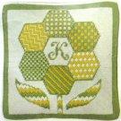 Vintage Sunflower Pillow Needlepoint Kit 12 In Square Sampler Flower Initial Craft Home Decor